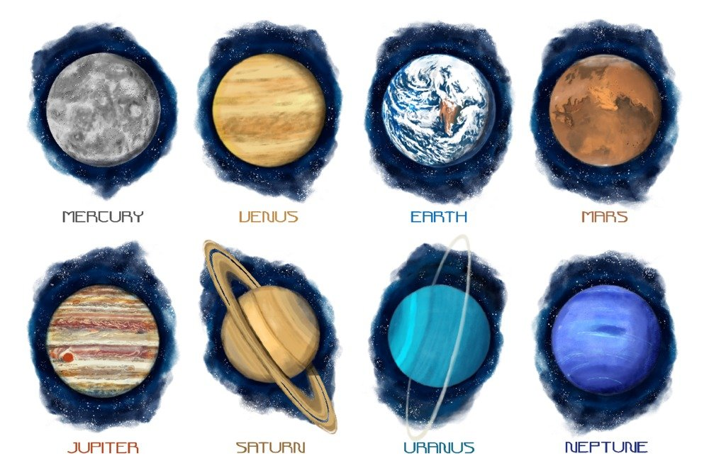 The Planets – 水彩 12 x 18 Art Print LANT-83922-12x18 12 x 18 Art Print  B0784ZB91P