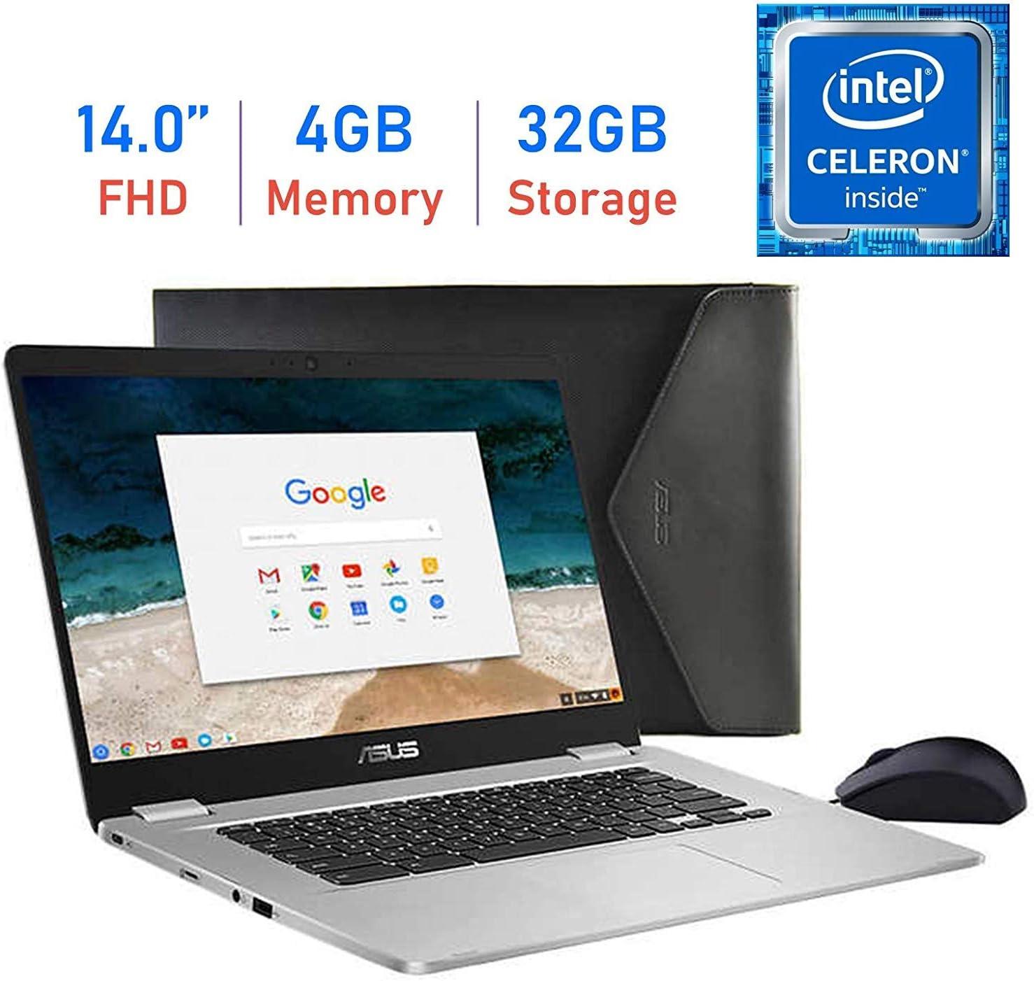 "Latest_ASUS Chromebook 14"" FHD (1920x1080) Laptop, Intel Dual-Core Celeron N3350 Processor, 4GB RAM, 32GB eMMC, 180° hinge, USB 3.1 Type-C, Media Card Reader, Mouse and Sleeve Included,ChromeOS"