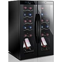 24 Bottle Wine Cooler Refrigerator - White Red Wine Fridge Chiller Countertop Wine Cooler, Freestanding Compact Mini…