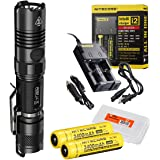 Nitecore Ultimate Bundle P12GT 1000 Lumens Compact Tactical LED Flashlight, Two 3400maH 18650 Rechargeable Batteries, Smart Charger and Lumentac Battery Organizer