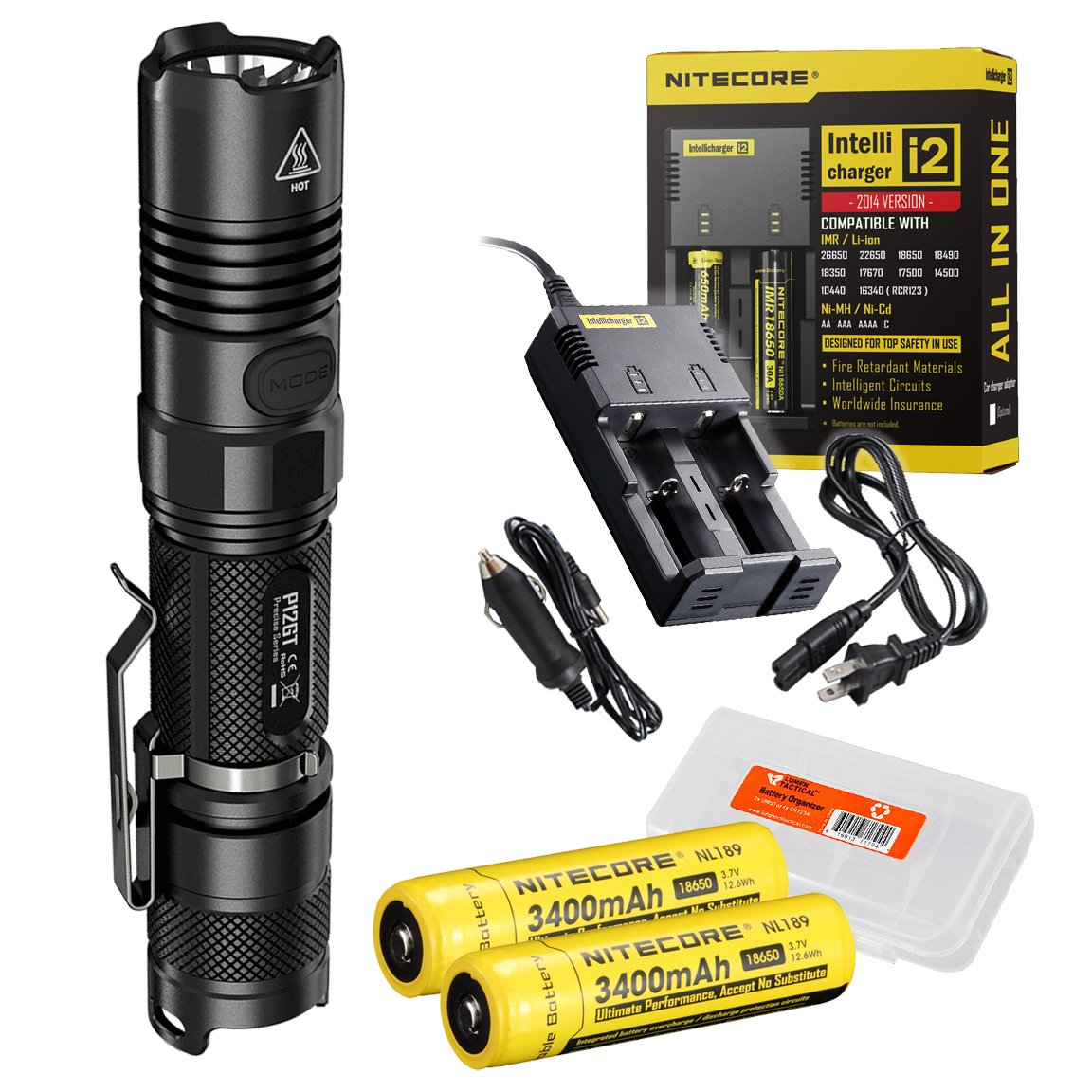Ultimate Bundle: Nitecore P12GT 1000 Lumens Compact Tactical LED Flashlight, Two 3400maH 18650 Rechargeable Batteries, Smart Charger and Lumentac Battery Organizer