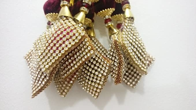 Tassels Bridal Blouse accessories cloth Tassels Beaded Latkens Saree Latkens dress decoration-Length 6 inches-Price for a Pair-IDLA45: Amazon.co.uk: Kitchen ...
