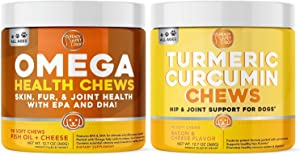 Ready Pet Go! Omega 3 & Turmeric Chews for Dogs | Hip & Joint Support | Fish Oil for Dog Shedding, Skin Allergy, Itch Relief | 90 Chews Each