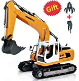 DOUBLE E 17 Channel Remote Control Truck Three in one RC Excavator Metal Shovel Remote Control Tractor Construction Vehicles with 2 Bonus Drill and Grasp