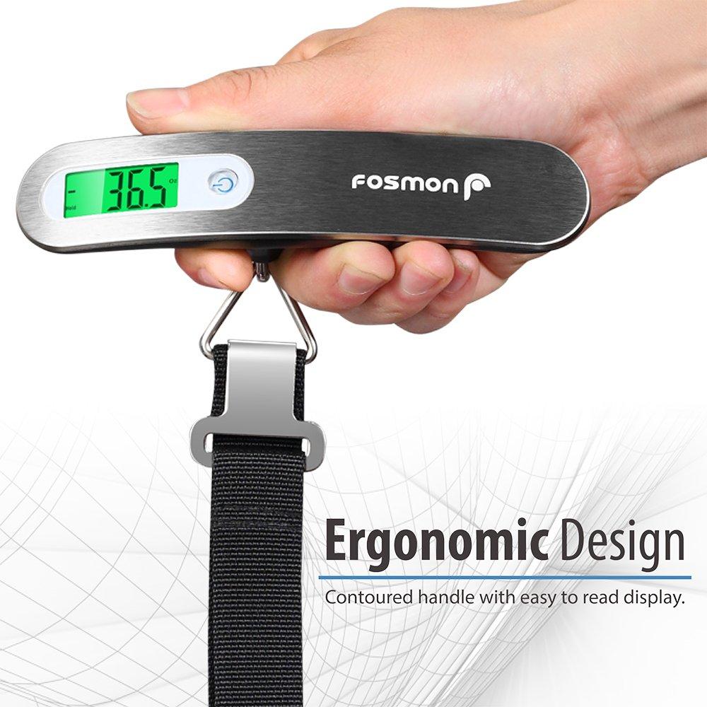 Escala de equipaje digital, Fosmon [Acero Inoxidable] Escalera de pesaje para equipaje digital, hasta 110 lb / 50 kg con función de tara: Amazon.es: ...