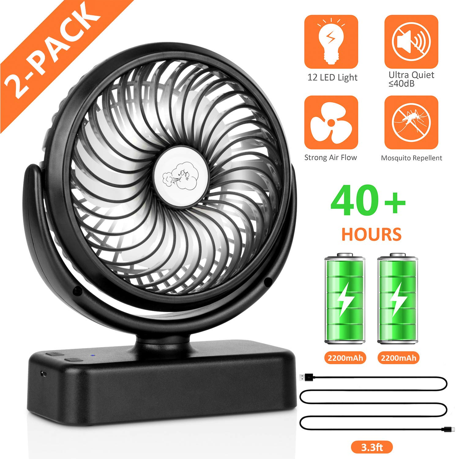COMLIFE Portable Desk Fan with 12 Led Lights, 4400mAh Rechargeable Battery Operated Fan with Built-in Hook, 3 Speeds, 360°Rotation, Mini Personal Cooling Fan for Camping, Hiking, Home,Office (2-Pack) by COMLIFE
