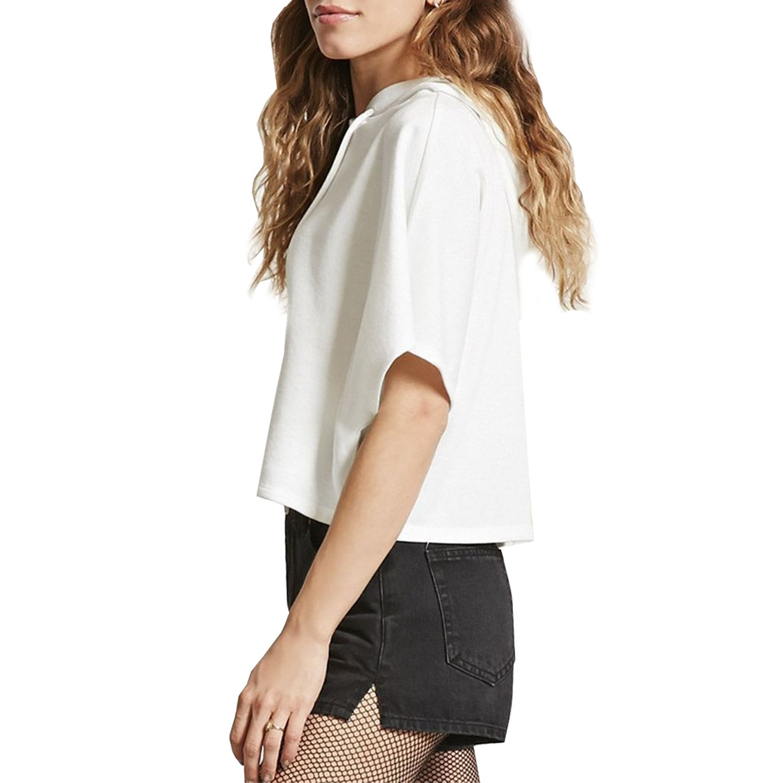 MAKARTHY Womens Short Sleeve Hoodie Lightweight Crop Top Pullover Sweatshirt White-L by MAKARTHY (Image #2)