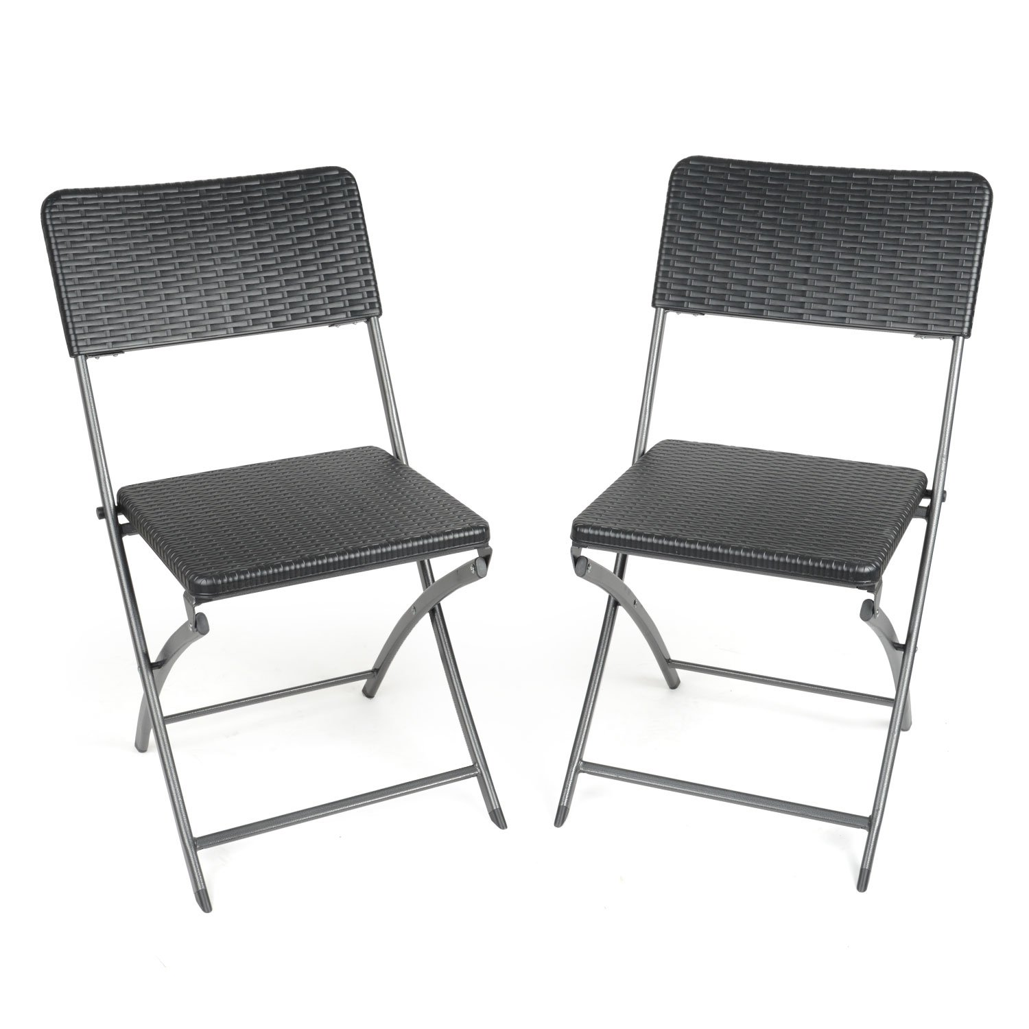 2 x Blow Moulded Folding Chairs Rattan Effect Heavy Duty Camping