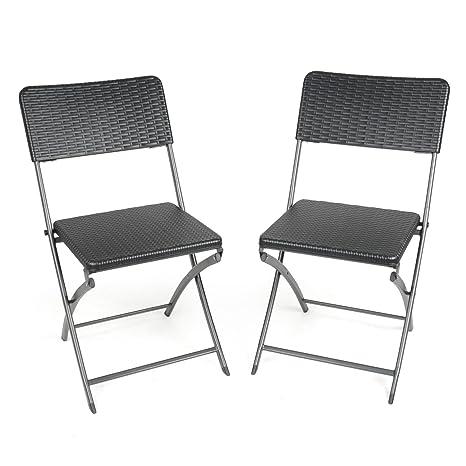 2 x sillas plegables resistentes de efecto ratán moldeado ...