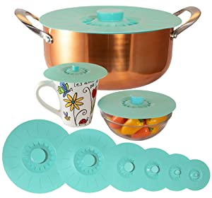 "Silicone Lids Extra Large Teal Set of 6 Sturdy Suction Seal Covers. Universal fit for Pots, Fry Pans, Cups, and Bowls 5"" to 12"". Natural grip handles interlock for easy use and storage. Food Safe."