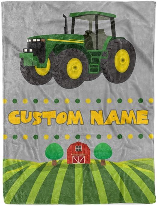 John Deere tractors on green  fleece blanket