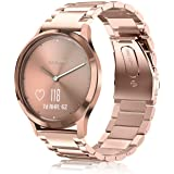 Fintie for Garmin Vivoactive 3 Music/Forerunner 245 Band, 20mm Quick Release Stainless Steel Metal Replacement Wrist Strap Accessories for Vivomove HR/Forerunner 645 Music Smartwatch - Rose Gold