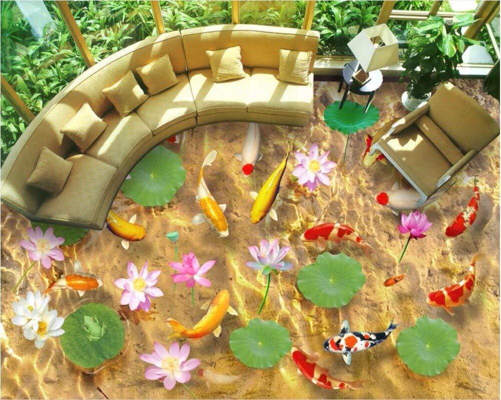 "Custom Mural 3D Flooring Picture PVC Self Adhesive Wallpaper Carp Pond Lotus Home Decor Painting 3D Wall Murals Wallpaper-8M2(13'6""X 6'5"") Ft"