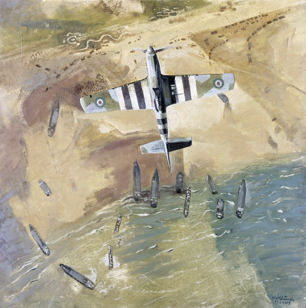 World War Ii Normandy Nan Rcaf Spitfire Airplane Over The Beaches Of Normandy After The D-Day Invasion On 6 June 1944 Painting By Eric Aldwinkle 1945 Poster Print by 24 x 36
