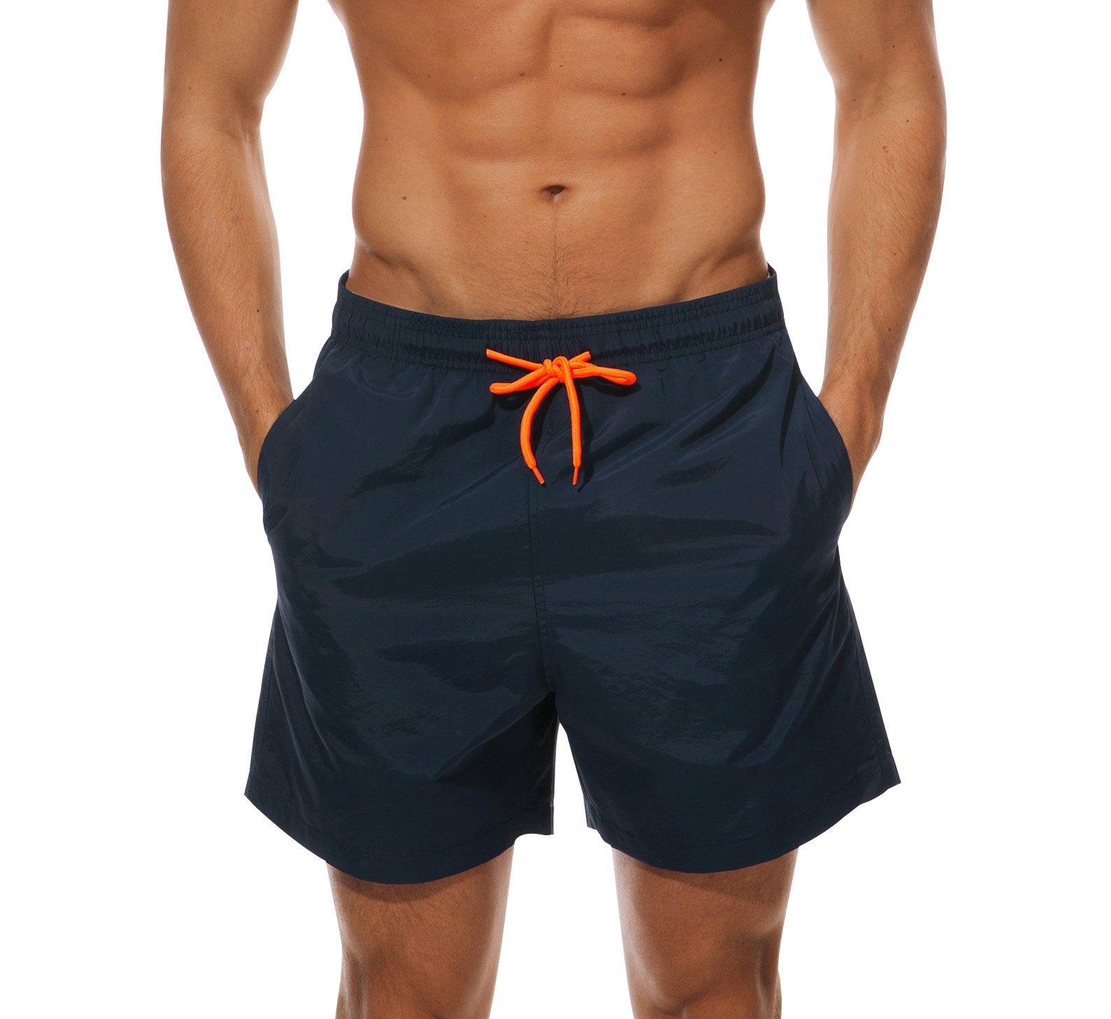 Ehpow Men's Beach Shorts Quick Dry Waterproof Sports Shorts Bathing Suit Swim Trunks, Navy, Large