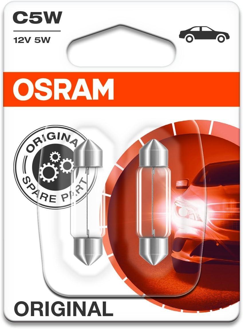Osram 6418-02B Lámpara Original Sv8,5-8 12V 5W, Set de 2, blanco, Medium