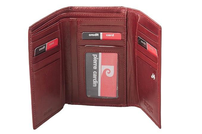 cartera mujer PIERRE CARDIN rojo en cuero con monedero externo A5044: Amazon.es: Ropa y accesorios