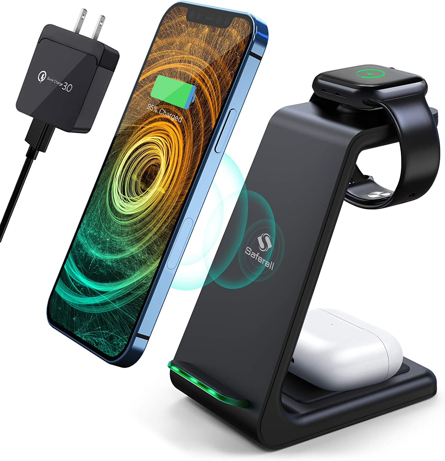 Wireless Charging Station, Saferell 3 in 1 Fast Charging Station,Wireless Charger Stand for iPhone 12/11 Pro Max/X/Xs Max/8/8 Plus, AirPods 2/pro, iWatch Series, and Samsung Phones
