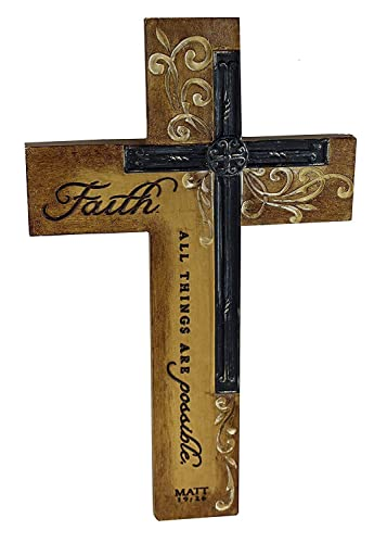 Dicksons Faith All Things Filigree Wood Look 9 Inch Resin Stone Hanging Wall Cross