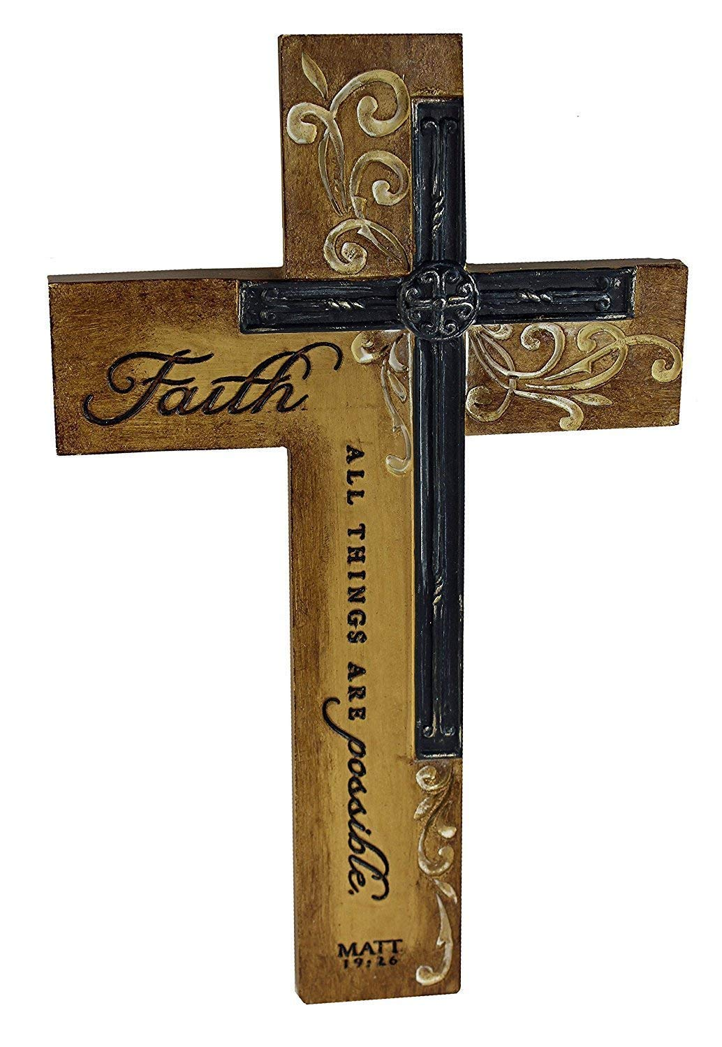 Dicksons Faith All Things Filigree Wood Look 9 Inch Resin Stone Hanging Wall Cross by Dicksons (Image #1)