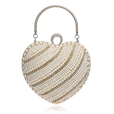 Women Clutch Bag Purse Evening Handbag Glitter Diamante Pearl Heart-shaped  Shoulder Bag For Bridal