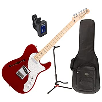 Fender Deluxe Thinline Telecaster guitarra eléctrica (Candy Apple Red) W/Deluxe funda de