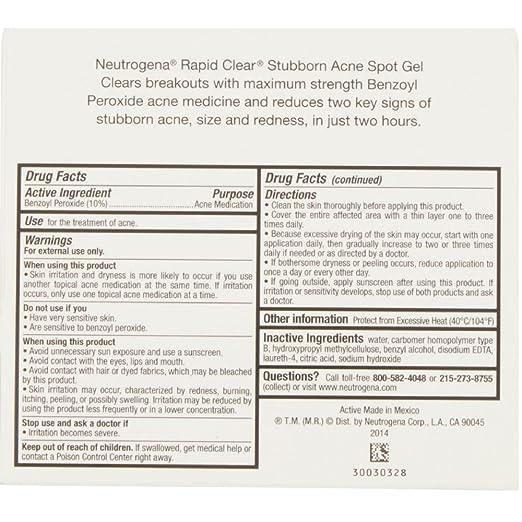Amazon Com Neutrogena Rapid Clear Stubborn Acne Spot Gel 1 Oz