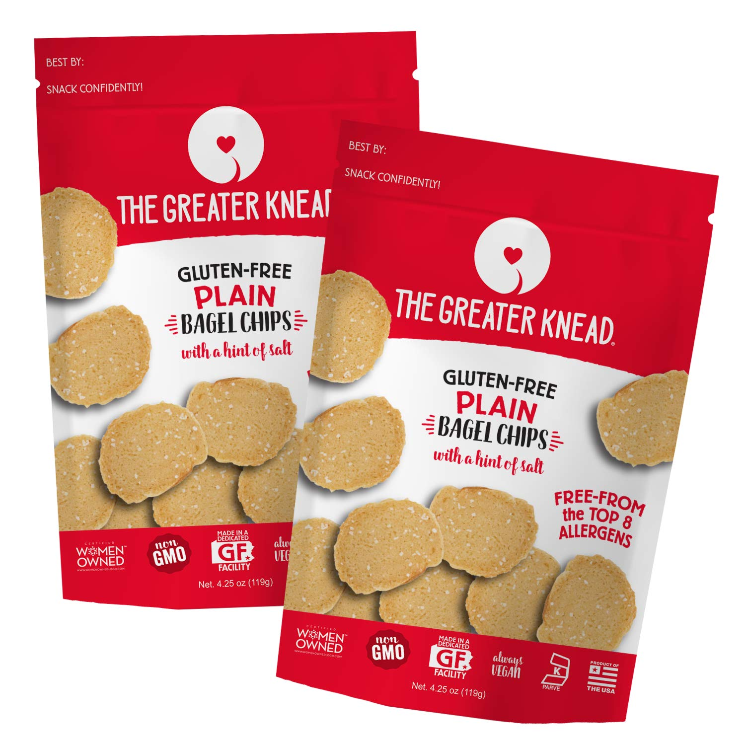 Greater Knead Gluten Free Bagel Chips - Plain, Vegan, non-GMO, Free of Wheat, Nuts, Soy, Peanuts, Tree Nuts (2 Bags) by The Greater Knead