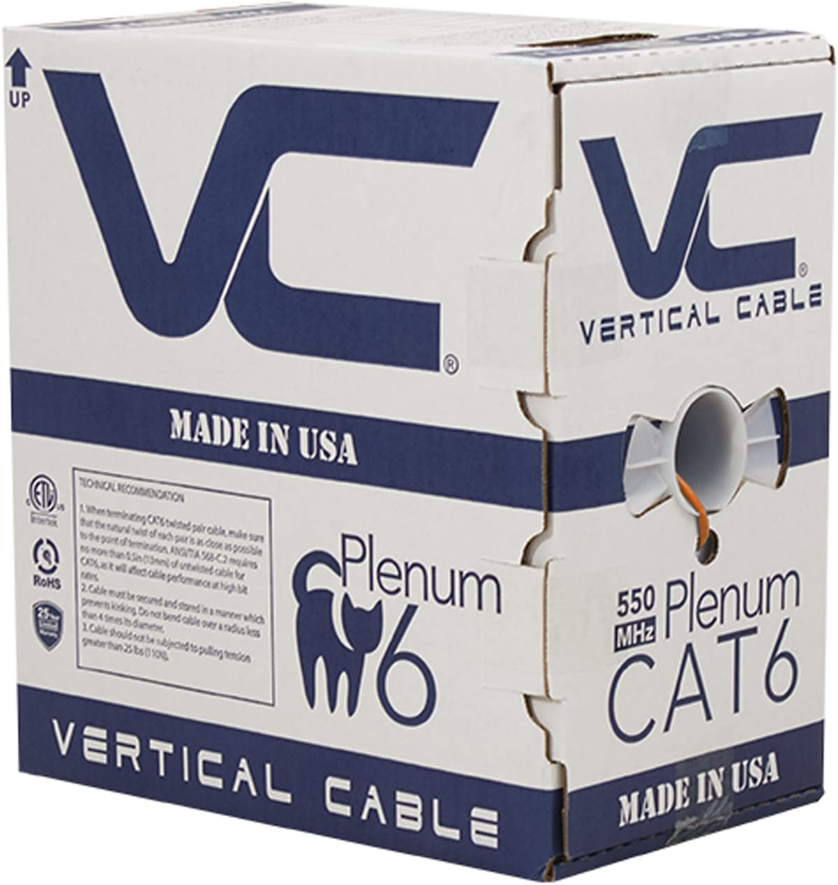 Orange 8C Solid Bare Copper UTP Made in USA Bulk Ethernet Cable 1000ft 550 MHz Vertical Cable CAT6 23AWG Plenum