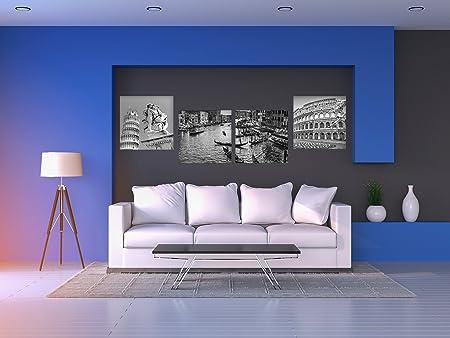 Cuadro Lienzo Impresión Digital Venecia Coliseo Torre de Pisa | Tonos Grises | Pack de 4 cuadros de 50 x 60 cm | Lienzo Enmarcado Ligero, Resistente y Económico: Amazon.es: Hogar