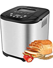 Aicok 2 LB Bread Maker, 15 Programs Bread Machine Including Gluten-Free Setting, Non-Stick Dishwasher-Safe Pan, Stainless Steel
