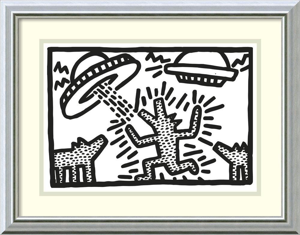 アートフレーム印刷' Untitled , 1982 ( Dogs with UFOs ) ' by Keith Haring Size: 21 x 16 (Approx), Matted ホワイト 3351199 Size: 21 x 16 (Approx), Matted Warm Silver Swoop,mat:white B01EHCYYYY