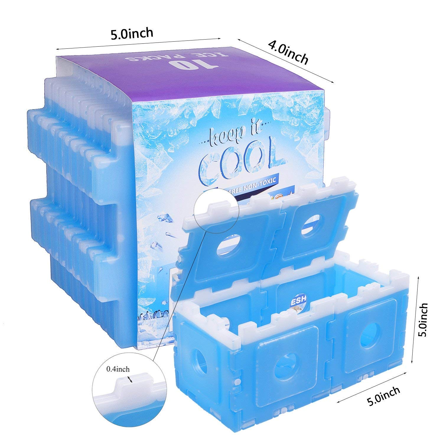 beyetori Ice Packs Cool Pack for Lunch Box,Freezer Packs for Lunch Bags and Coolers,Ice Pack Slim Reusable,Long-Lasting Freezer Ice Packs,Ice Packs-Great for Coolers,Ice Cube Blue
