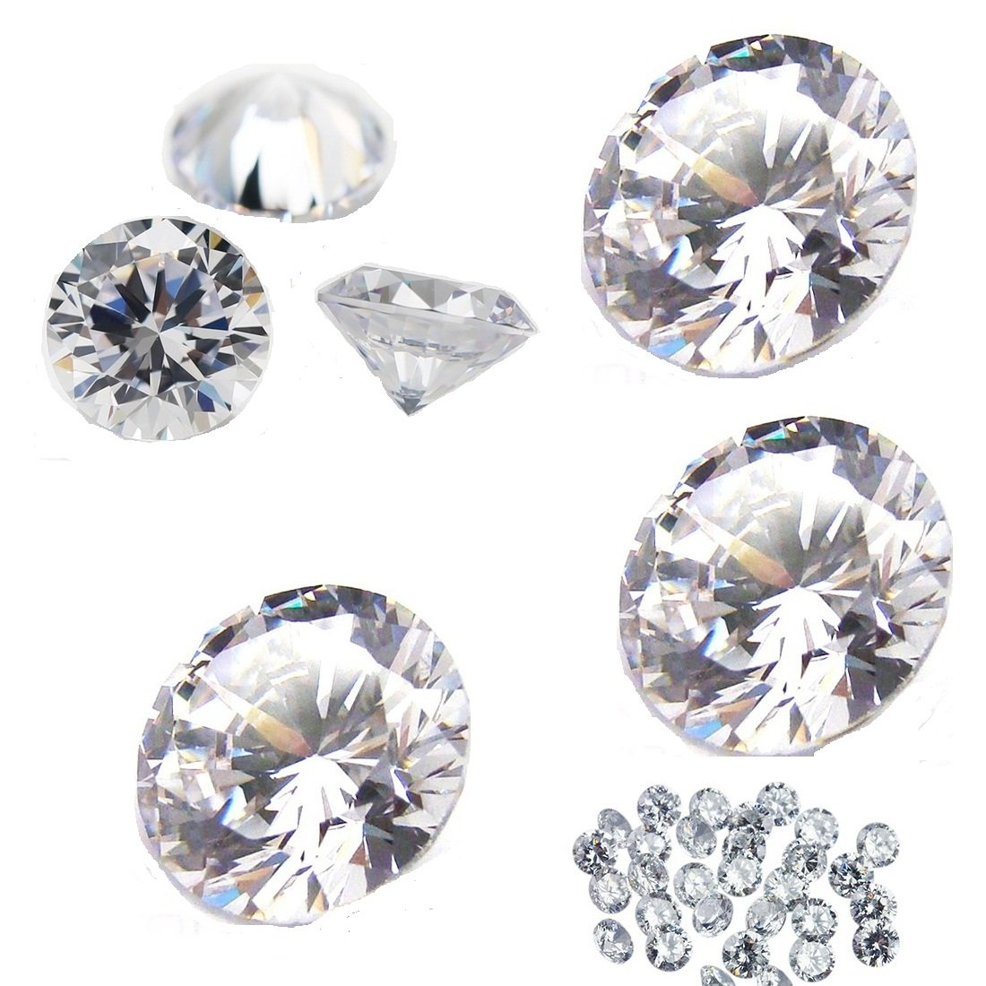 Mughal Gems & Jewellery White Cubic Zirconia AAA Quality Star Cut Round Shape Loose Gemstone MG-WCZ