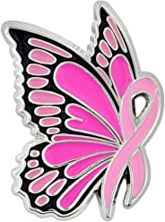 e80ddb1f31cec PinMart Breast Cancer Awareness Butterfly Pink Ribbon Enamel Lapel Pin