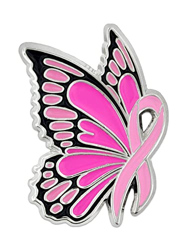 dfcdd7b20 Amazon.com: PinMart Breast Cancer Awareness Butterfly Pink Ribbon Enamel  Lapel Pin: Brooches And Pins: Jewelry