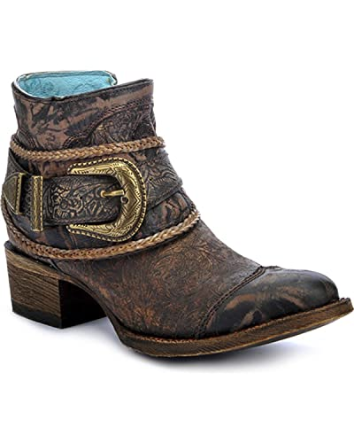 Women's Floral Embossed Short Boot Round Toe - A3123