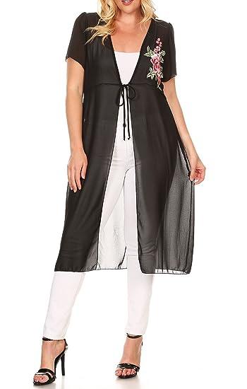 a77578d93c7 eVogues Plus Size Sheer Mesh Cardigan Black at Amazon Women s Clothing  store