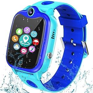 [IP67 Waterproof Phone Watch] Smartwatch for Kids, GPS Tracker with SOS Alarm Clock Game Wrist Smart Watch for Girls Boys Student Children Birthday Toys School Travel Outdoor (Black)