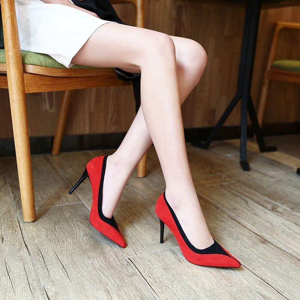 Oudan Stilettfersenmode Gemischte Farbspitzflache Flacher Mund Beschuht Einfache (Farbe Sätze Fußschuhe Weiblich (Farbe Einfache   Aprikose Größe   36) 1e63f4