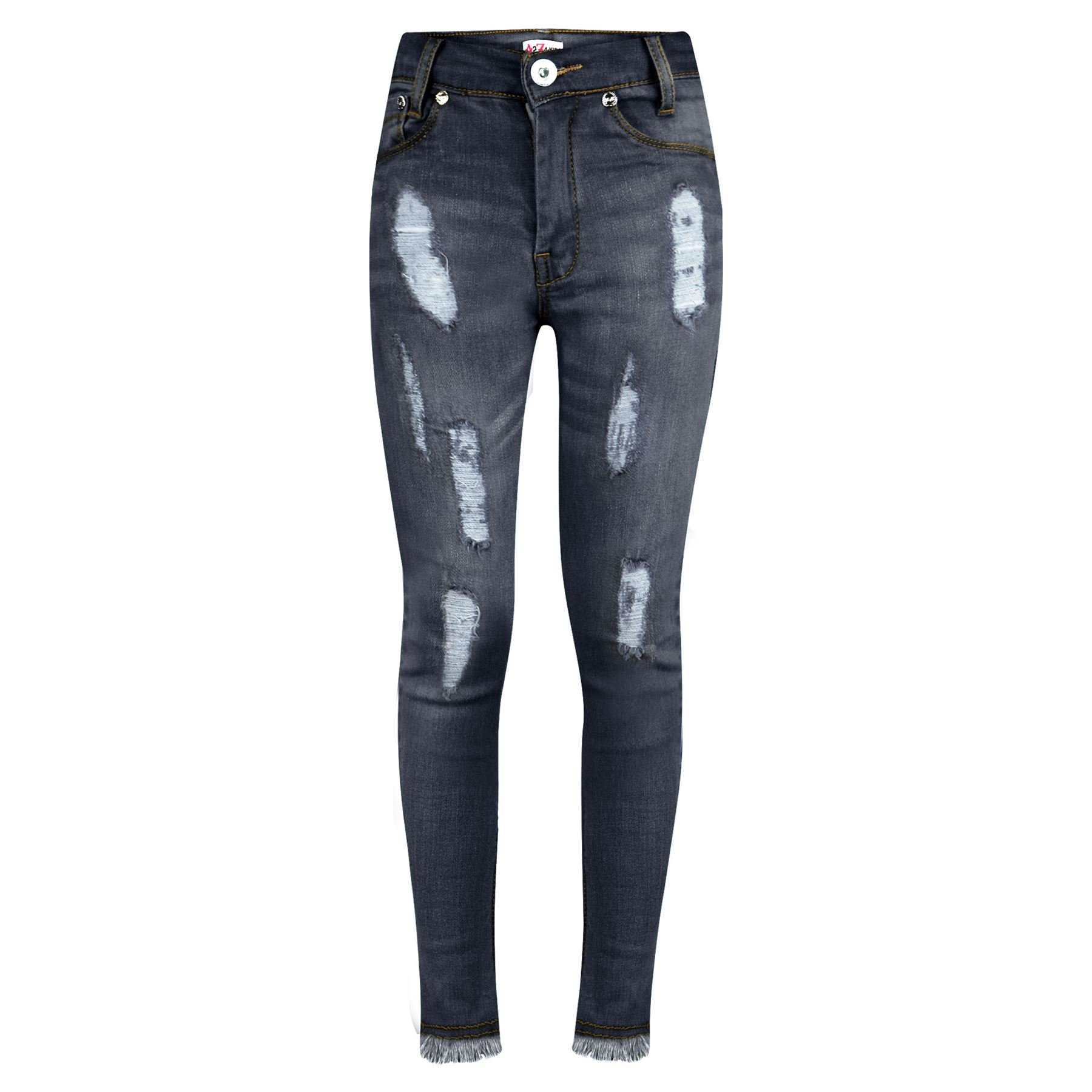Girls Stretchy Jeans Kids Ripped_GJ01 Denim Pants Trousers Jeggings Age 5-13 Years