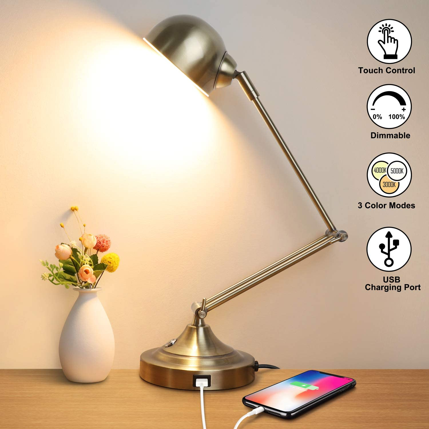 LED Desk Lamp with USB Charging Port, Swing Arm, Fully Dimmable, 3 Color Modes, Eye-Caring Task Lamp, Touch Control Brass Metal Architect Drafting Table Lamp for Bedside, Office, Work, Reading -Memory