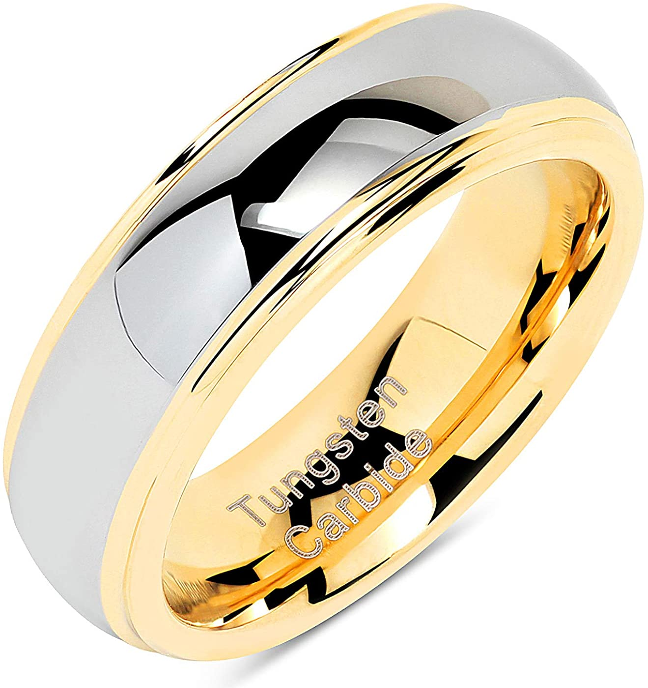 100S JEWELRY Engraved Personlized 6mm Tungsten Rings for Men Women Wedding Band Two Tones Gold Silver Engagement Size 5-13