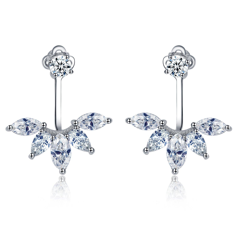 UMODE Leaf Design CZ Diamond Ear Jackets Marquise Cut Zirconia Stud
