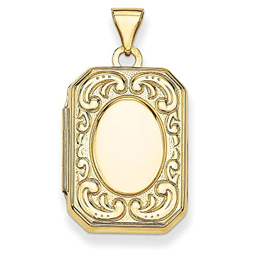 14K Yellow Gold Rectangle Locket 30x16mm