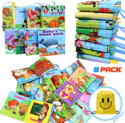 Pack Of 8 Baby/'s First Non-Toxic Soft Cloth Book Set Tear Resistant Washable