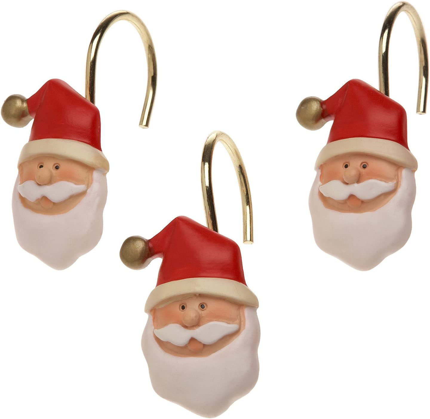 Carnation Home Fashions Santa Claus Ceramic Resin Shower Curtain Hooks-set of 12: Home & Kitchen