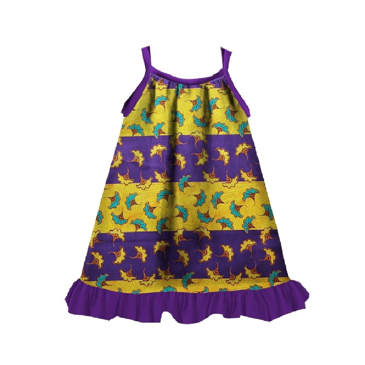 Winwinus Girl Kids Cute African Wax Fabric Dashiki Fine Cotton Sundress Purple M