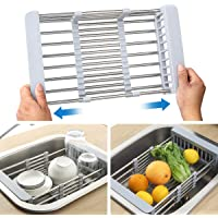 Aikaplus 304 Stainless Steel Drying Dish Rack, Telescopic Drain Basket with Adjustable Armrest, Used for Kitchen Sink…