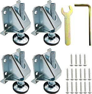 TIHOOD 4PCS Heavy Duty Adjustable Leveling Feet Hexagon Nuts Lock Furniture Legs Levelers for Furniture, Table, Cabinets, Workbench, Shelving Units and More
